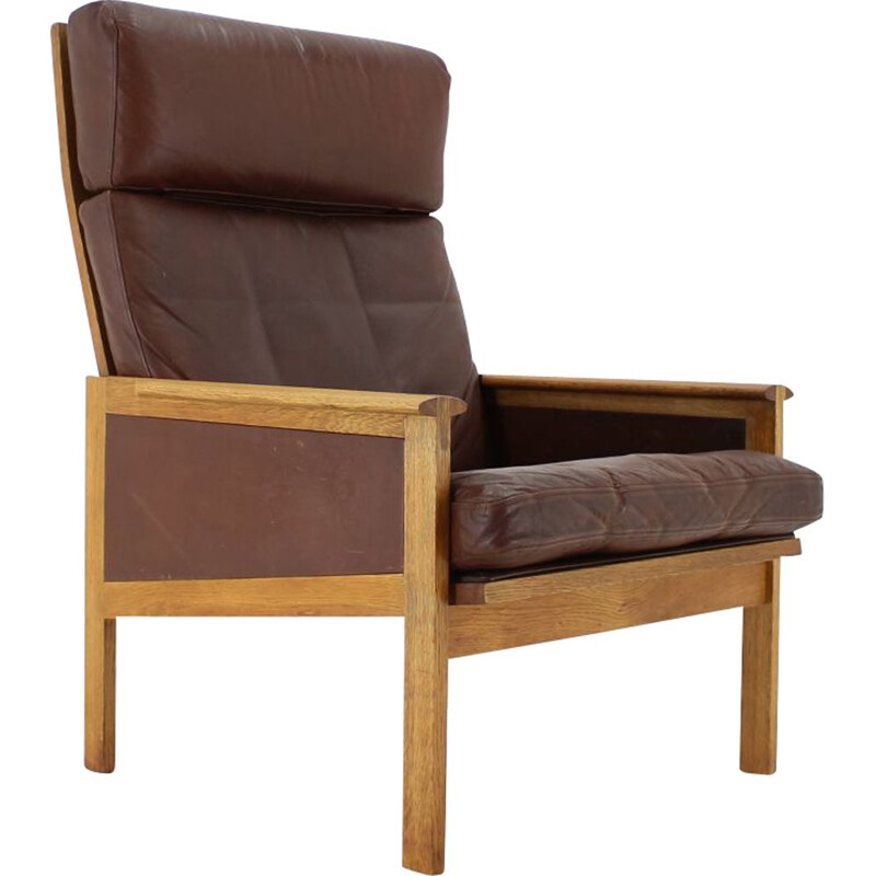 1970s Illum Wikkelsø Capella Leather High Back Lounge Chair for Eilersen