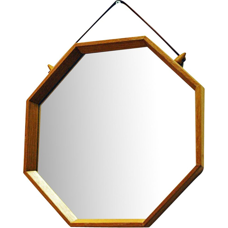 Oak vintage wall mirror, sweden, 1950s