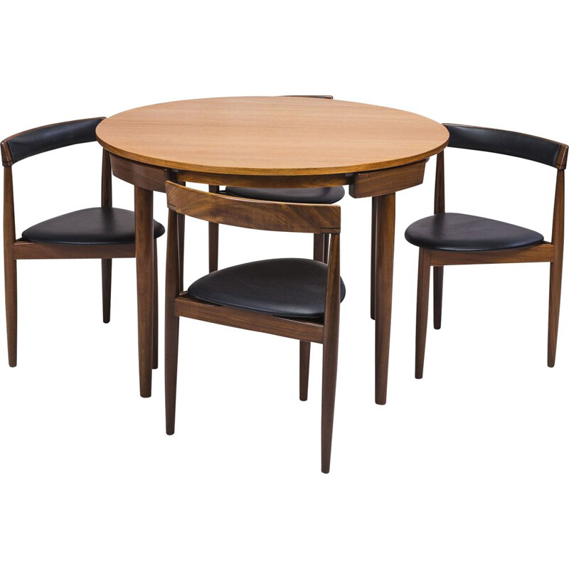 Teak Dining Table and Chairs by Hans Olsen for Frem Røjle, 1950s, Set of 4
