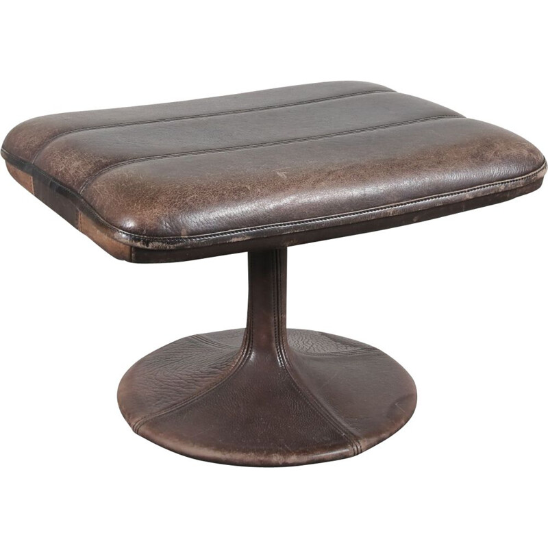 1960s Brown leather stool  manufactured by De Sede in Switzerland