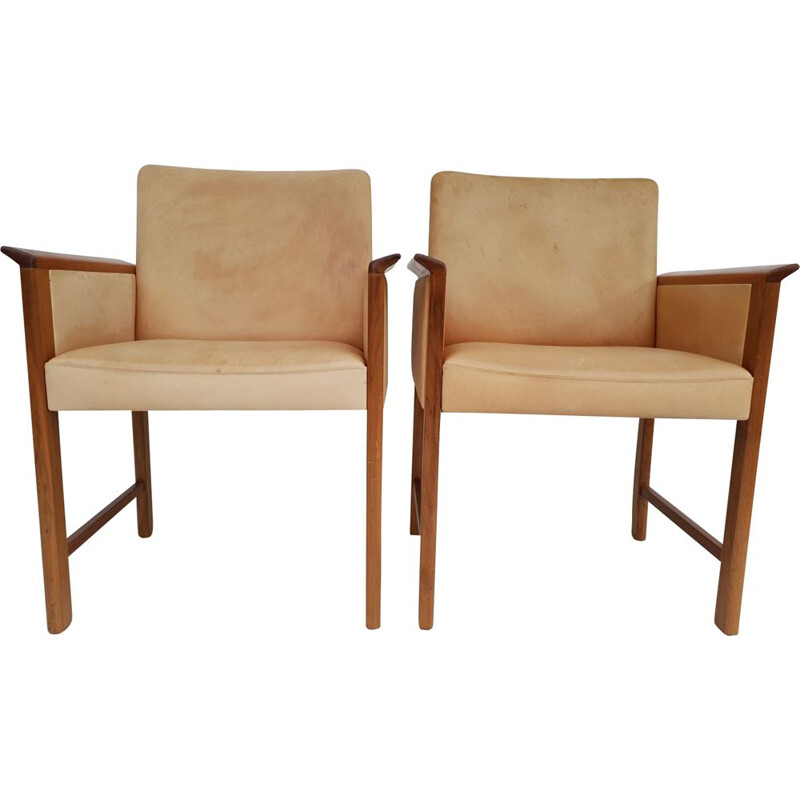 Danish conference chairs by Hans Olsen, 60´s, original VEGETAL leather, solid teak wood