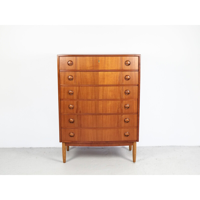 Vintage danish chest of 6 drawers in teak with bowed front by Kai Kristiansen 1960