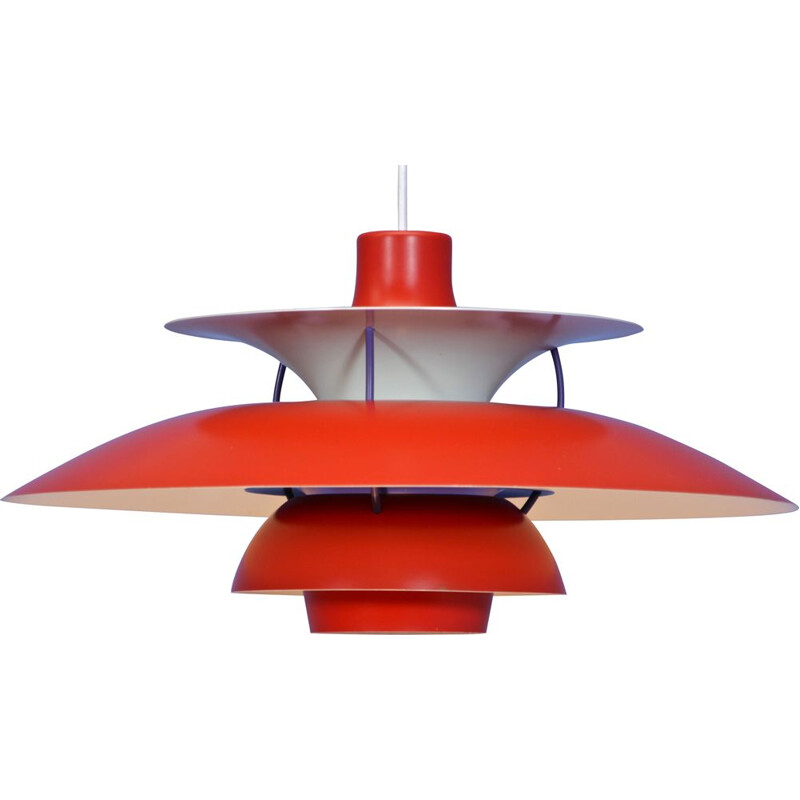 Danish PH5 pendant in red by Poul Henningsen for Louis Poulsen, 1970s