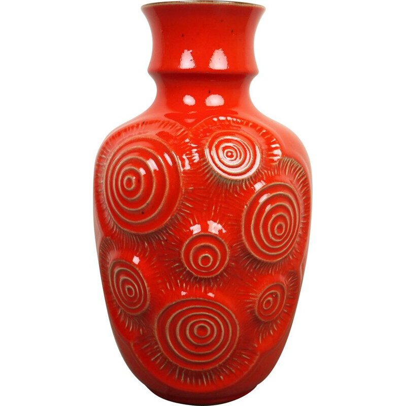 Red Op Art Pottery Vase from Bay Keramik, Germany, 1960s