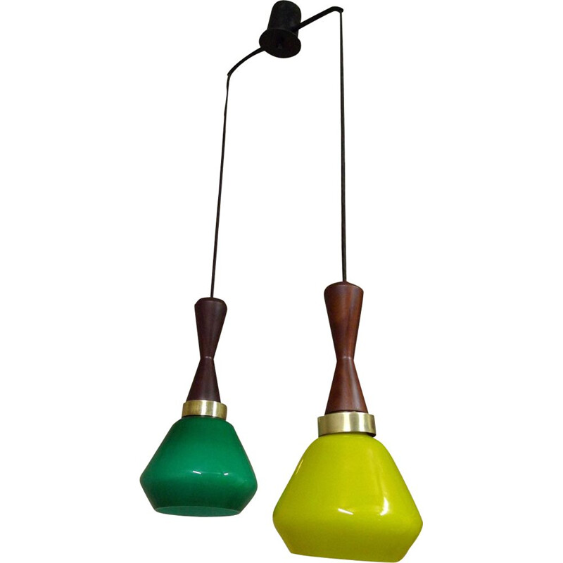 suspension opaline, laiton & teck, Italie, 1950