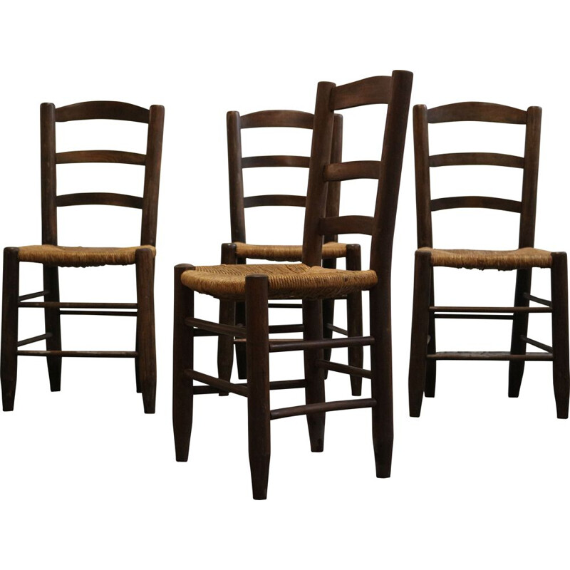 "Set of 4 vintage chairs ""Bauche"" by Charlotte Perriand, 1950"