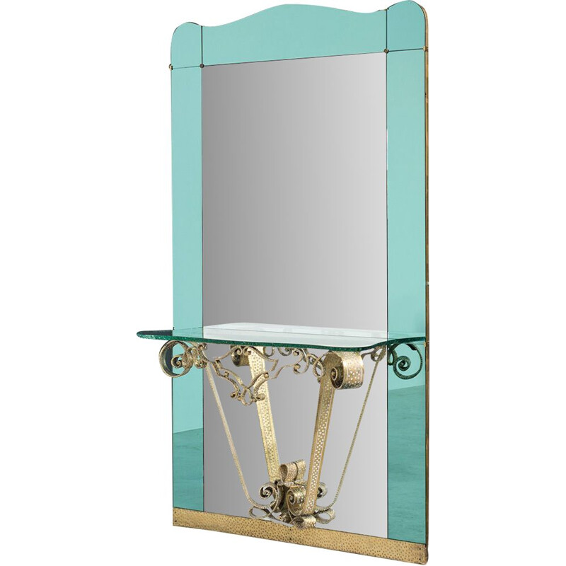 Vintage large mirror with console by Pierluigi Colli  for Cristal Art, 1940