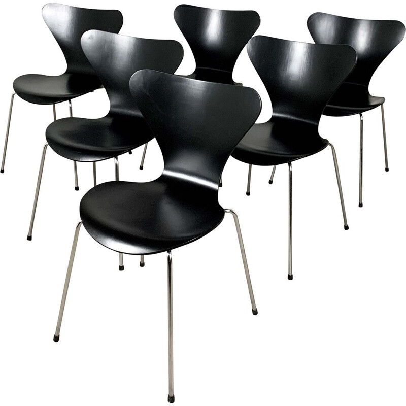 "Set of 6 vintage ""3107 Butterfly"" Chairs by Arne Jacobsen for Fritz Hansen, 1960s"
