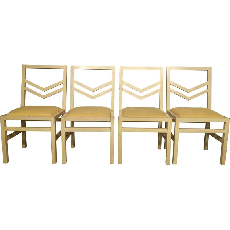 Set of 4 vintage Quilt chairs by WILMOTTE SCDR edition