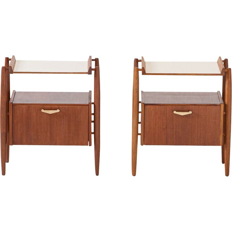 Fully Restored Pair of Italian Teak and brass Bedside Tables