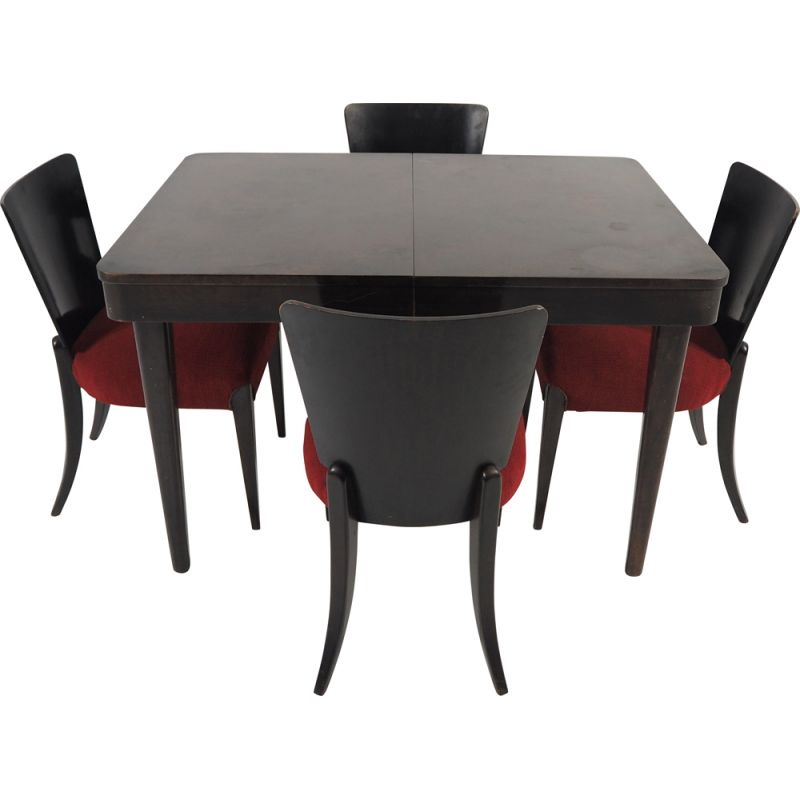 Set of 5 Vintage Art Deco dining chairs by Jindřich Halabala