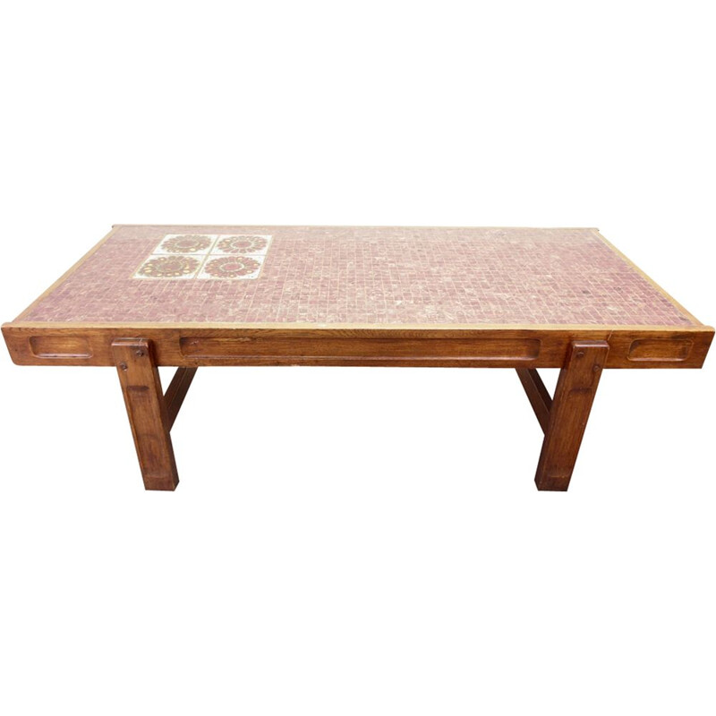 Vintage mid century redpink mosaic brutalist coffee table by Juliette Belarti