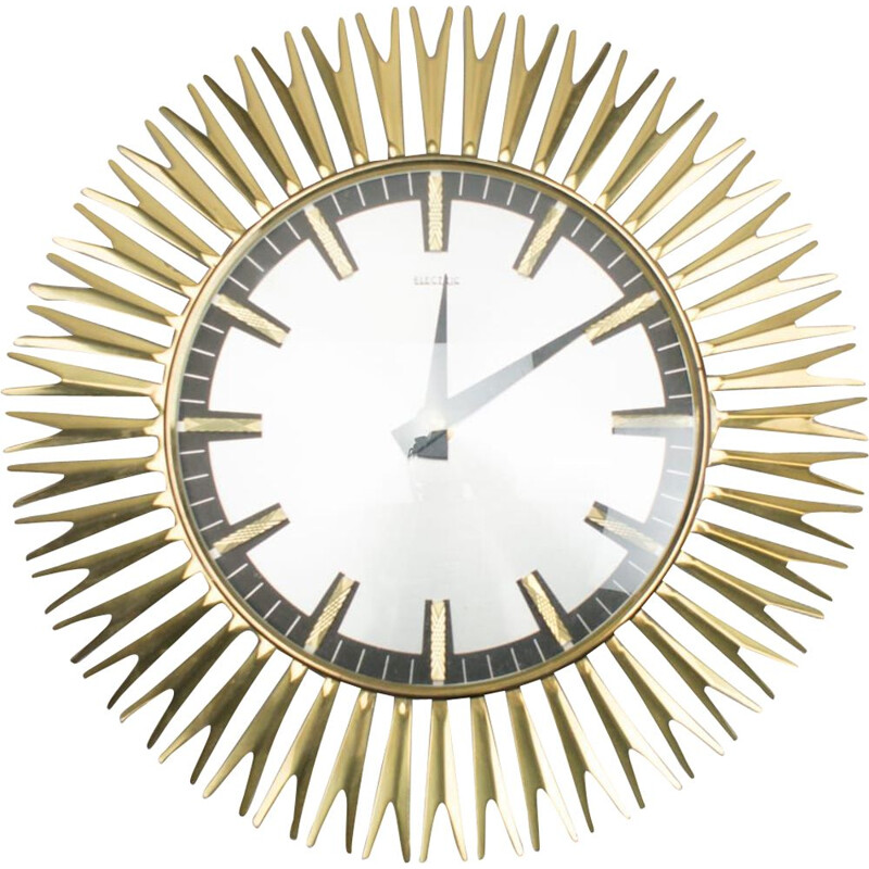 Brass Wall Clock by Electric, 1960s