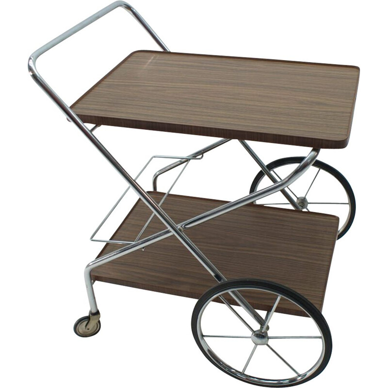 Vintage Chrome Folding Serving Trolley, 1960s