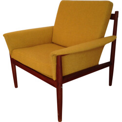France & Son vintage Scandinavian armchair in yellow fabric, Grete JALK - 1950s