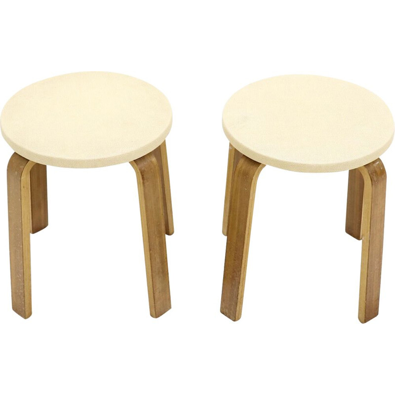 Set of 2 Plywood Stools by Cor Alons for Gouda den Boer, 1950s