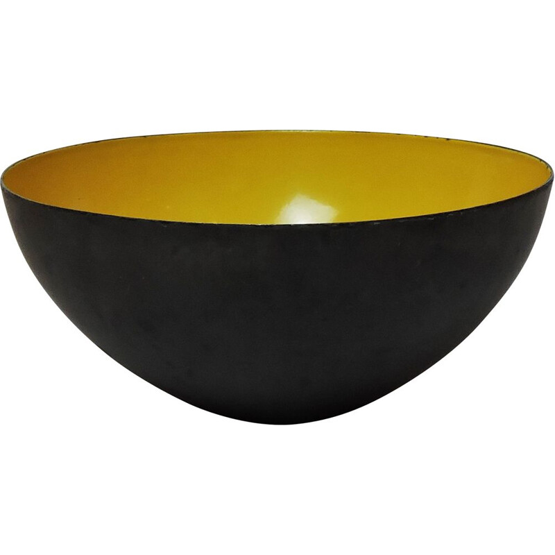 Large Mid-Century Danish Yellow Enamel Krenit Bowl by Herbert Krenchel, 1950s