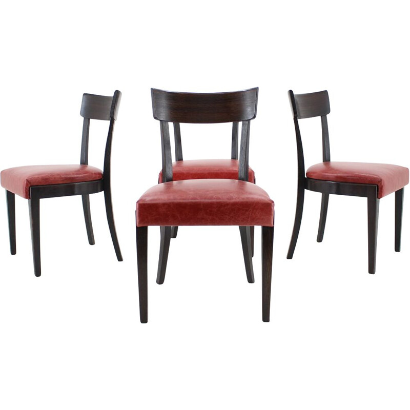 1950s Red Leather Dining Chairs for UP Czechoslovakia, Set of 4
