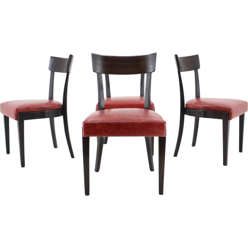 1950s Red Leather Dining Chairs For Up