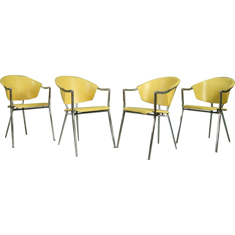 Italian Chrome Plated and Leather Armchairs, 1970s, Set of 4