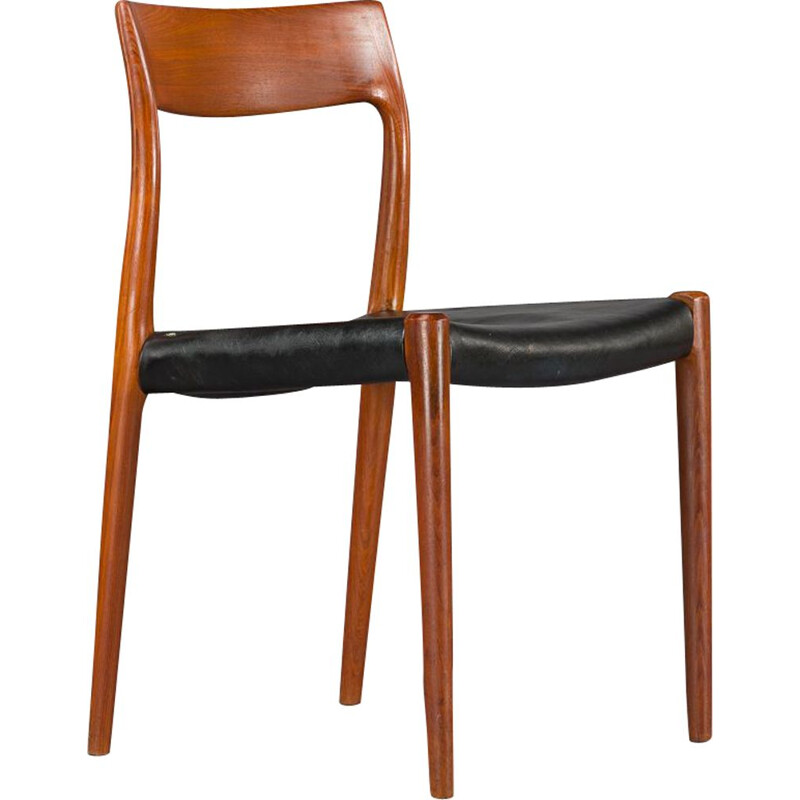 Danish mid-century dining chairs N.O. Moller  77, set of 4