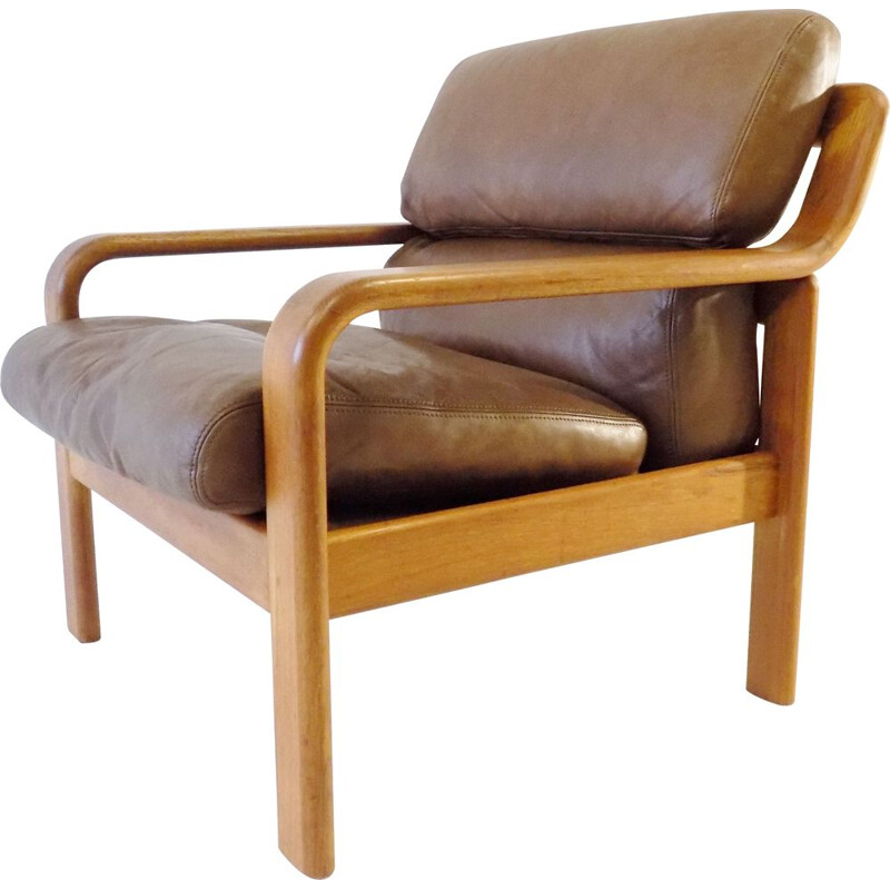 Danish Easy Chair Teak Leatherchair by L. Olsen&Son