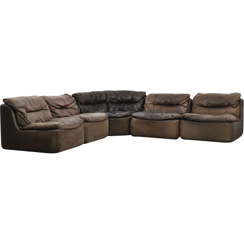 Vintage Brown Leather Plus 144 Curved Modular Sofa By Friedrich Hill For Walter Knoll 1970s