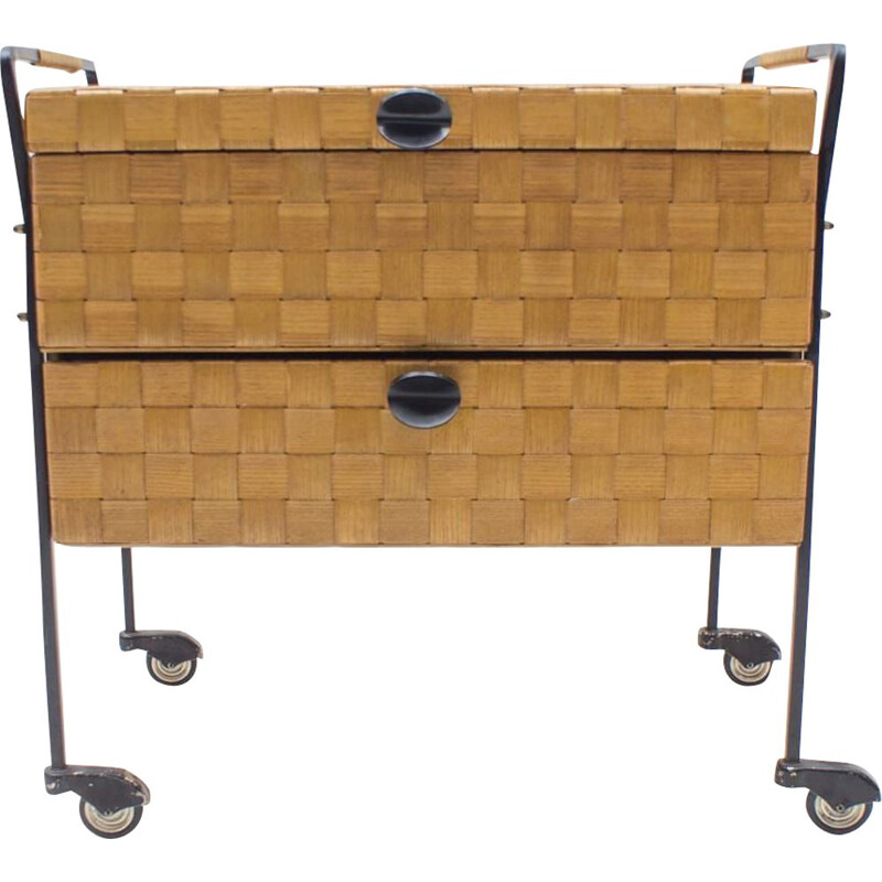 Very Rare Vintage Veneer Strip Sewing Trolley on Rolls, 1960s Austria
