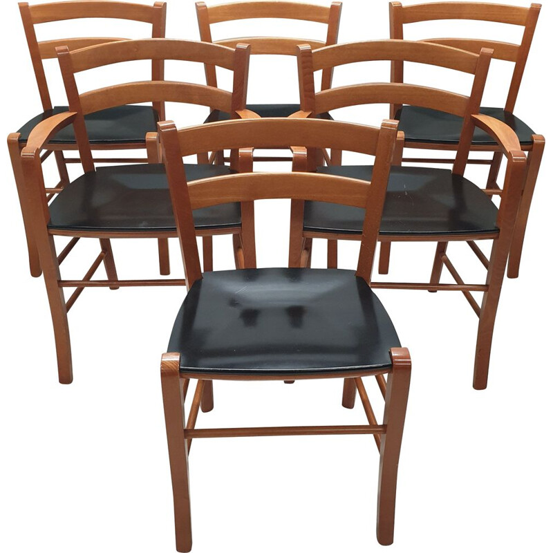Set of 6 Marocca Dining chairs by Vico Magistretti for e DePadova, 1987