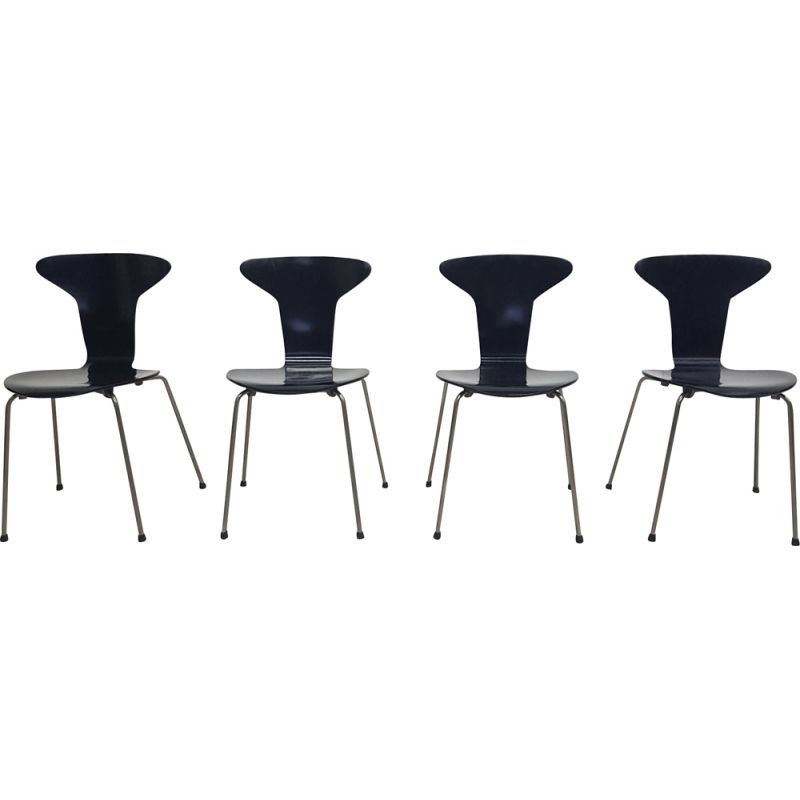 Set of 4 Mosquito chairs in metal and black lacquered wood by Arne JACOBSEN for Fritz Hansen