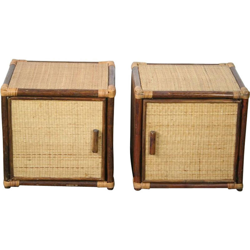 Pair of vintage rattan bedside tables, 1970s