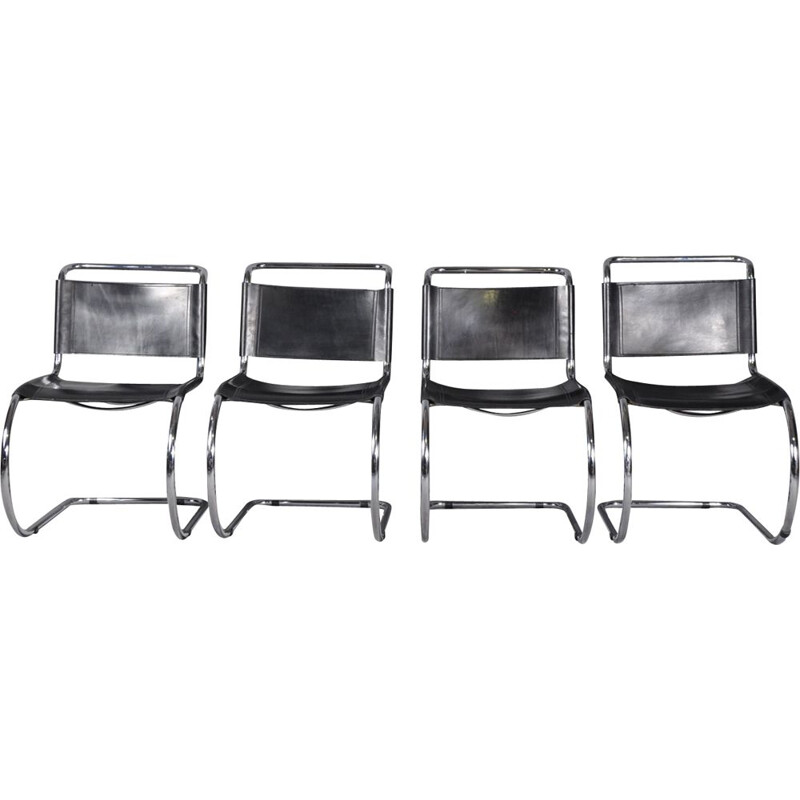 Set of 4 vintage MR10 Chairs by Ludwig Mies van der Rohe, 1970s