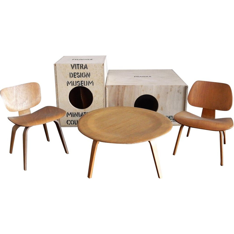 Set of plywood DCW, LCW and CTW miniatures by Charles & Ray Eames for Vitra, Switzerland 1990's