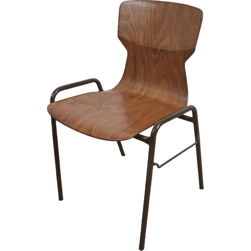 Brown industrial school chair by Eromes