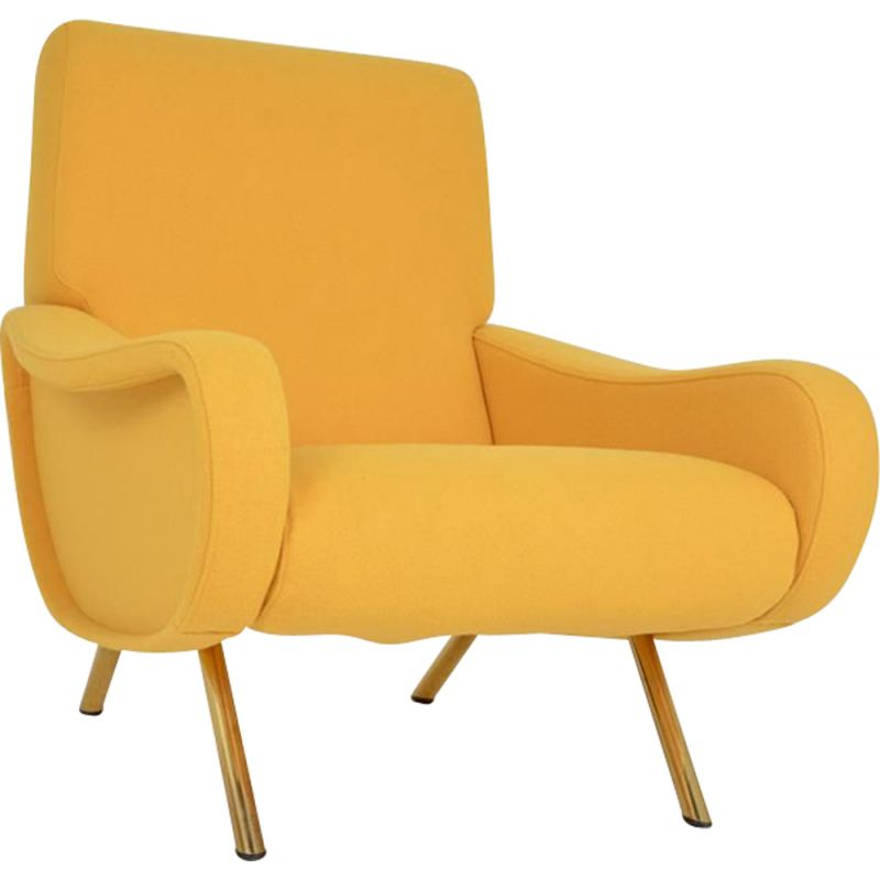 """Vintage yellow armchair """"LADY"""" by Marco ZANUSO"""