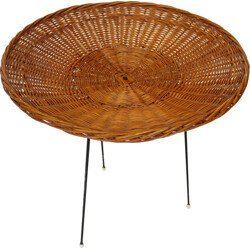 Round rattan wicker vintage side table - 1960s