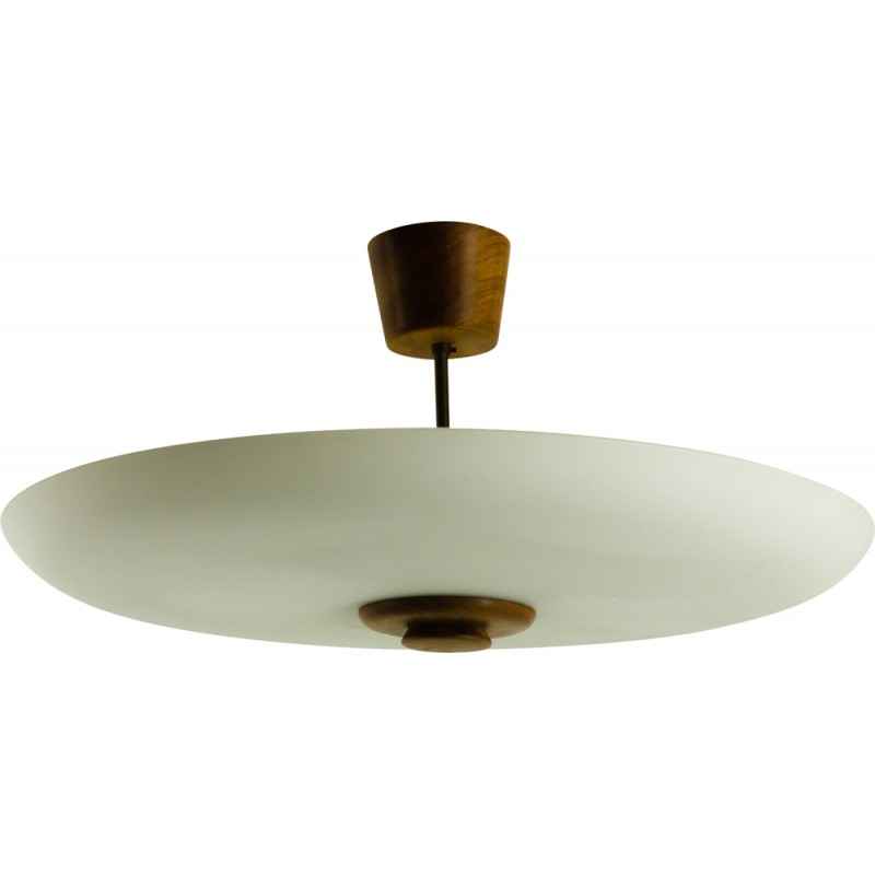 Vintage ceiling lamp in teak and opal glass 1950s