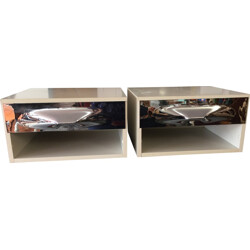 Vintage pair of bedside in white melamine and chromium, Raymond LOEWY - 1960