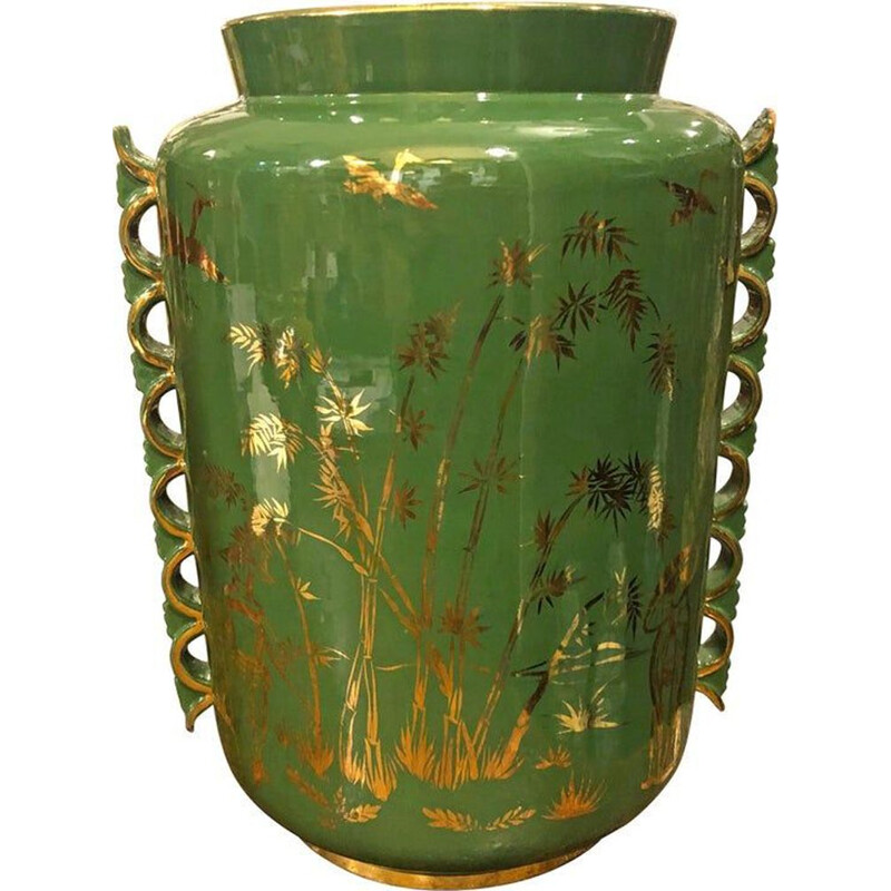 Mid-Century Modern Green and Gold Ceramic Italian Vase, circa 1960