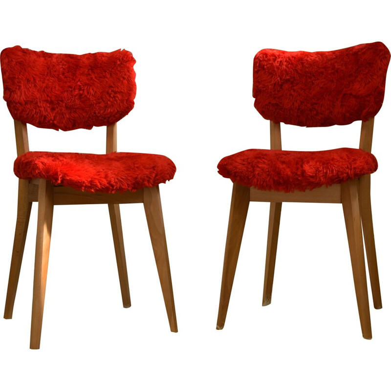 Set of 2 vintage red chairs, 1960s