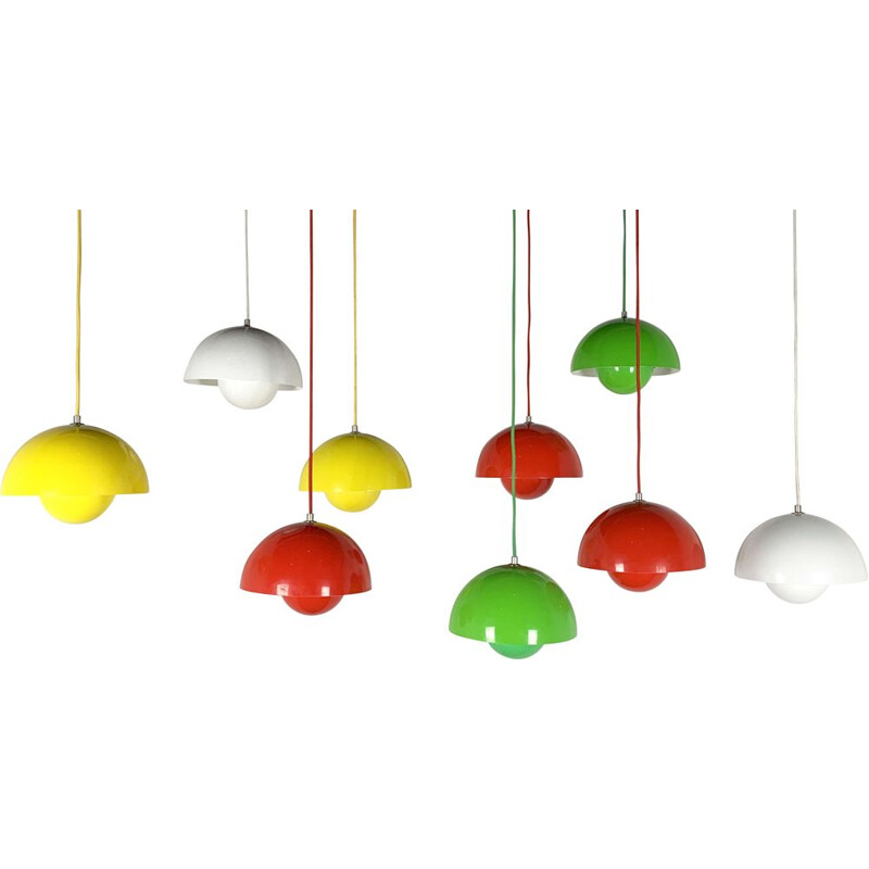 Set of 9 Flower Pot Pendant Lamp by Verner Panton for & Tradition