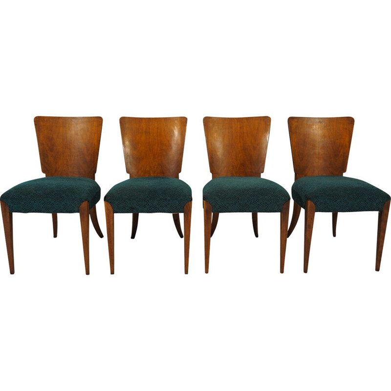 Vintage Art Deco Dining Chairs by Jindřich Halabala for UP Závody, 1940s, Set of 4