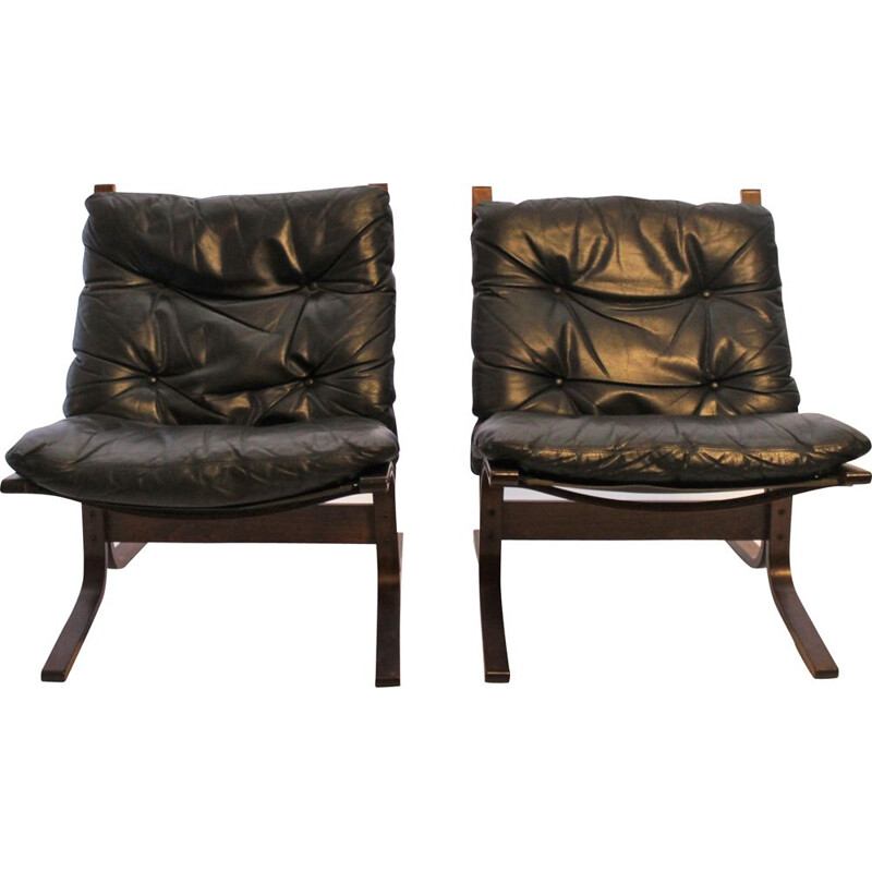 Vintage pair of Siesta armchairs by Ingmar Relling and Westnofa, 1960s