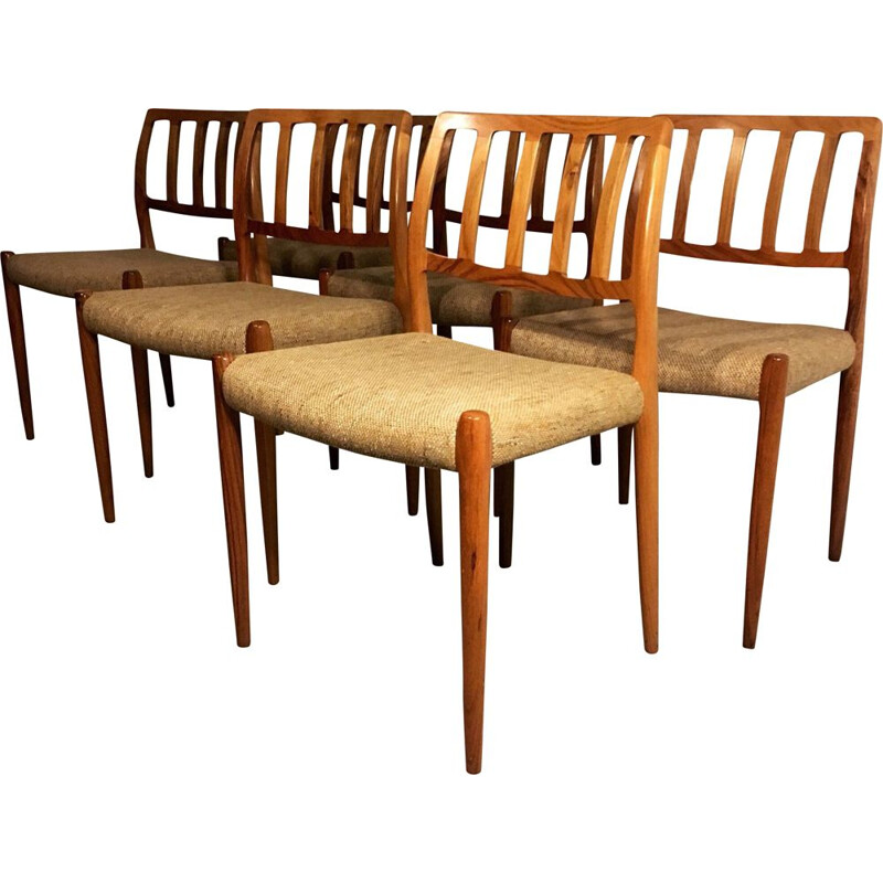 Set of 6 Vintage Model 83 Rosewood Dining Chairs by Niels O. Møller for J.L. Møllers Møbelfabrik, 1960s