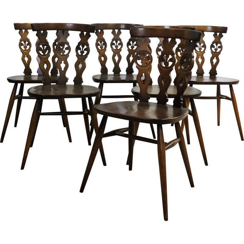 Set of 6 vintage Windsor Chairs by Lucian Ercolani for Ercol, 1970