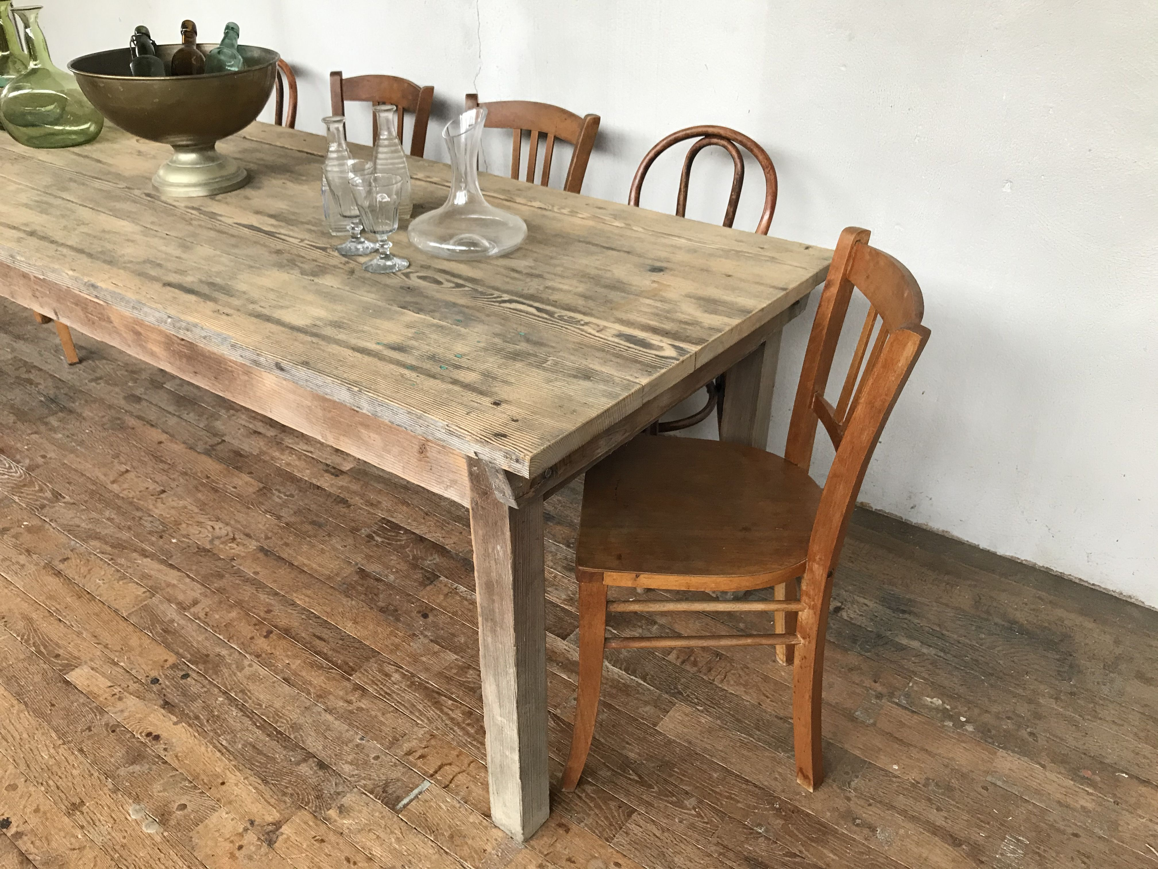 Large vintage farmhouse table in fir wood 12