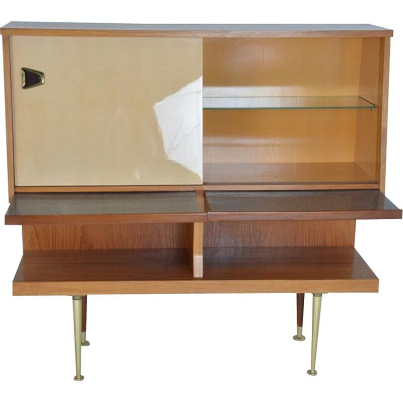 Vintage secretary in glass and wood, Italy, 1960s