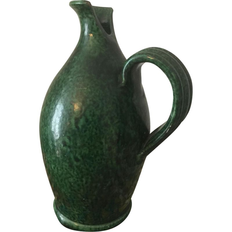 Vintage green ceramic vase by Foucart Jourdan, Vallauris