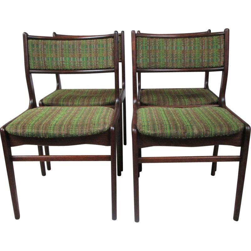 Set of 4 vintage rosewood chairs, Denmark, 1970s