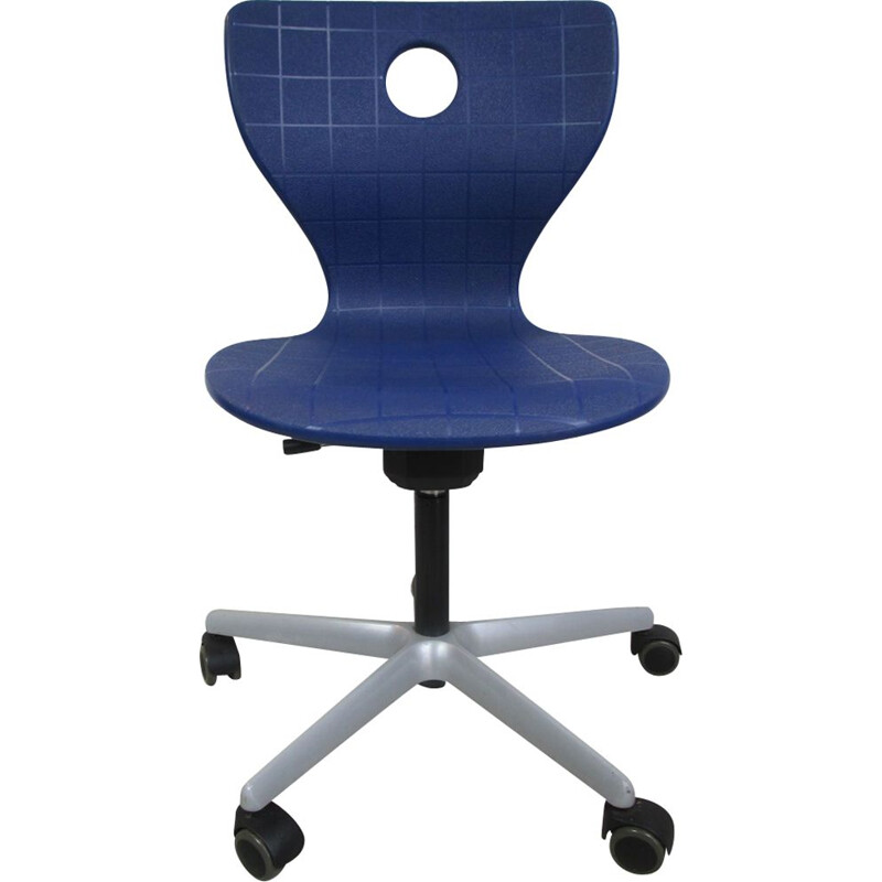 Vintage blue Swivel Chair by Verner Panton, Denmark, 1960s